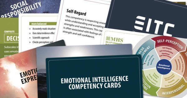 A deck of emotional intelligence competency cards.