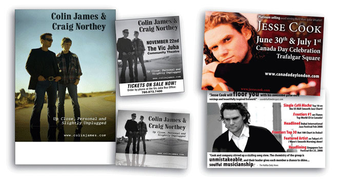 Marketing collateral for Jesse Cook and Colin James